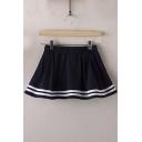 Sailor Style Chic Girls Mini Striped Hem A-Line Skirts