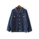 Popular Batwing Long Sleeve Denim Coat