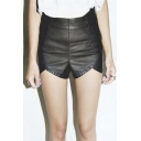Women's Leather High Waist Moto Style Side Zip Club Shorts