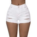 Womens Pure High Waisted Ripped Denim Shorts Short Jeans
