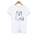 Fashionable Middle Finger Cat Pattern Short Sleeve Tee