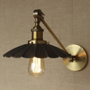 9'' Wide Noble Black And Gold Single Light Wall Light in Retro Style