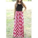 Womens Striped Zig Zag Scoop Neck Chevron Print Tank Maxi Long Dress