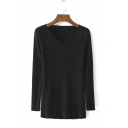 Women's Plain Scalloped V -Neck Long Sleeve Knitted Sweater