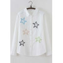 Women's Collared Button Front Embroidered Shirt