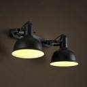 Satin Black Double Head LED Wall Sconce in Industrial Style