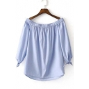 Women's Off The Shoulder Ruched Trim Blouse