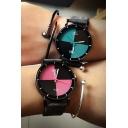 Fashion Women's Color Block Leather Quartz Watch