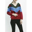 Women's V-neck Long Sleeve Color Block Sweater