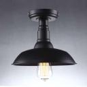 10''  Wide Classic Black Single Light Down Lighting Barn LED Semi Flush Ceiling Light