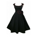 Women 1950s Vintage Retro Cap shoulder Party Swing Dress