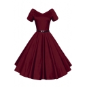 Women 1950s V-Neck Vintage Rockabilly Swing Evening Party Dress