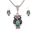 Cute Owl Shaped Alloy Gemstone Pendant Necklace and Earings