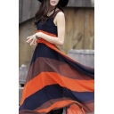 Women Chiffon Striped Long Maxi Beach Long Cocktail Party Dress