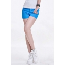Women's Solid Color Casual Mid Rise Stretch Fit Cotton Shorts