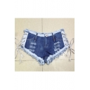 Sexy Mini Short Jeans Low Waist Fringed String Side Open Blue