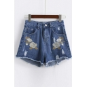 Flower Embroidery Ripped Raw Hem Hot Denim Shorts