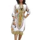 Women Franterd Traditional African Print Midi Dress