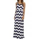 Women's Sleeveless Elastic Waist Striped Maxi Dress