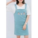 Cute Small House Embroidered Side Pockets Overall Dress