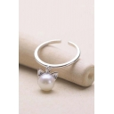 Popular Silver Plated Opening Ring Cute Orecchiette Imitation Pearl Adjustable Ring