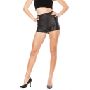 Junior High Waist Matte Leather Shorts