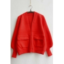 Women's Puff Sleeve Front Pocket Plain Knitwear Cardigan