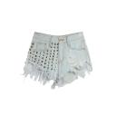 Women's High Waist Ripped Tassel Hole Jeans Denim Shorts Hot Mini Pants