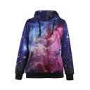 Women Sports Neon Galaxy Pullover Hoodie Sweatshirts