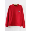 Fashion Embroidered Detail Christmas Pullover Sweatshirt