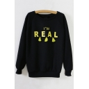Fashion I'M REAL Letter Print Fleece Sweatshirt with Tassel Detail