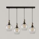 Retro Style Multi Light Pendant in Glass Globe Shade Industrial Linear Pendant Lighting in Black