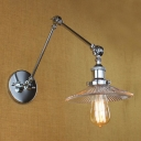 Modern Chrome Finished 1 Light Adjustable LED Wall Sconce with Glass Shade