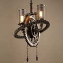 Old Iron Double Light Gear Shaped Indoor Commercial LED Pendant Lighting