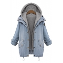 2016 Plus Size Ladies 2 in 1 Denim Coat Fashion Hooded Loose Jacket Oversize Casual Denim Outerwear