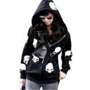 Women's Fashion Skull Hoodies Outwear Zip Up Hooded Coats Jackets