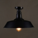 14'' Wide Semi Flush Ceiling Light in Barn Shade Textured Black Metal Single Ceiling Light for Kitchen Warehouse