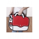 New Fashion Cartoon Color Block Canvas Shoulder Bag Tote Bag