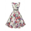 Vintage Floral Print Sleeveless A-line Dress with Belt