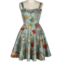 Women's Vintage Floral Print Straps Zip Detail A-line Dress