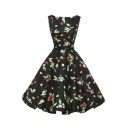 New Arrival Elegant Vintage Print Sleeveless Swing Midi Dress with Belt