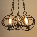 Wrought Iron Black Finished 3 Globe Cage Pendant LED Multi Light Pendant