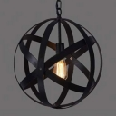 Retro Style 1 Light Wrought Iron 16'' Wide Globe LED Pendant in Black
