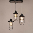 Modern Style Three Light Foyer Indoor LED Multi Light Pendant with Metal Cage