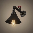 Antique Bronze 1 Light Mini Wall Pipe LED Wall Sconce Hallway Wall Lighting