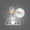 Industrial Style LED Mini Wall Sconce in White Finish with Metal Cage