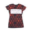 Women's Casual Dot Printed Round Neck Short Sleeve T-shirt