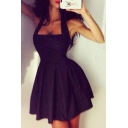 Popular Halter Zip Side A-line Short Dress Black/Dark Navy