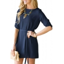 Fashion Elegant Long Sleeve Shift Short Dress with Belt
