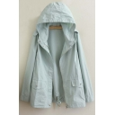 New Arrival Casual Loose Fit Hooded Coat Green/Blue/Dark Navy